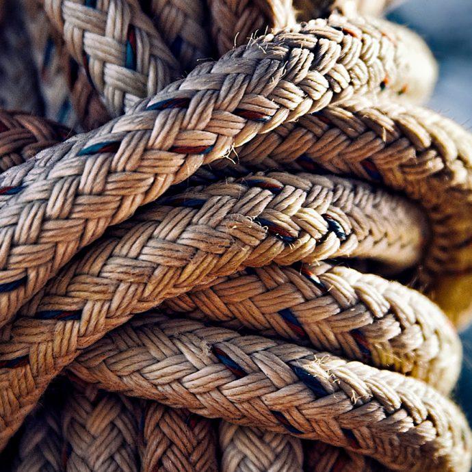 Foto van een knoop touw